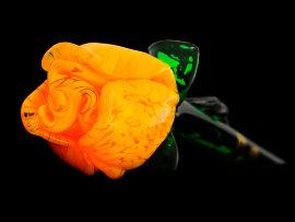 цветок стеклянный 50 см /роза желтая / 030024
