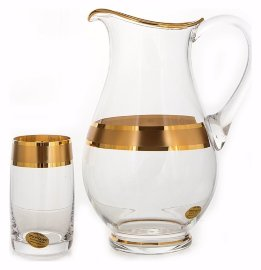"""набор для воды 7 предметов (кувшин + 6 стаканов) """"идеал /матовая полоса /золото"""" / 108767"""