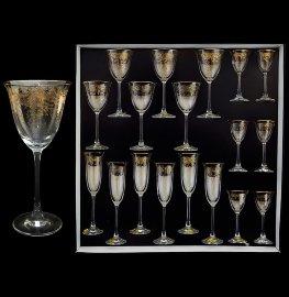 """набор бокалов 18 предметов (60, 160, 190 мл) """"флора /золотая повитель"""" / 018040"""