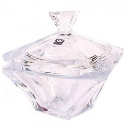 """ваза для конфет 12,5 см с крышкой """"квадрон /без декора"""" / 136810"""