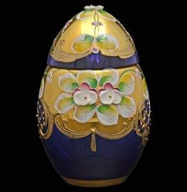 """вазочка 10 см с крышкой - яйцо """"лепка синяя"""" / 017717"""