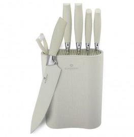 """набор ножей для кухни 7 предметов с подставкой """"crocodile line"""" белый / 135777"""