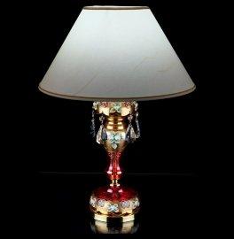 """лампа настольная 1 рожковая хрусталь """"лепка красная /elite bohemia"""" d-40 см, h-55 см, вес-2,16 кг / 136542"""