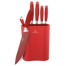 """набор ножей для кухни 7 предметов с подставкой """"crocodile line"""" красный / 135778"""