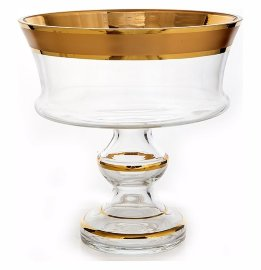 """ваза для фруктов 24 см """"матовая полоса /золото"""" / 108765"""
