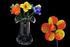цветок стеклянный 50 см /анемон красный / 061258