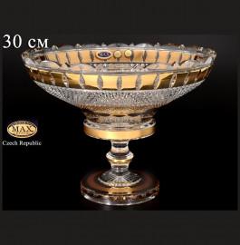 """ваза для фруктов 30 см н/н """"хрусталь /золотые окошки"""" / 080448"""