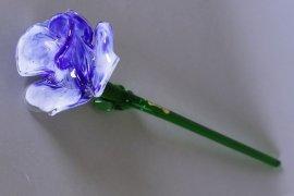 цветок стеклянный 50 см /сине-белый / 039962
