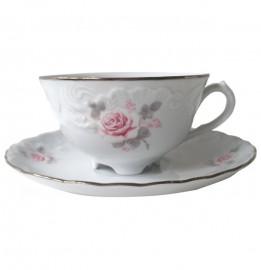 """чайная пара 220 мл 1 шт """"рококо /серая роза /платина"""" / 111503"""