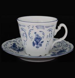 """набор чайных пар 230 мл 6 шт высокие """"бернадотт /синие розы"""" / 043517"""
