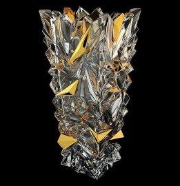 """ваза для цветов 30,5 см """"glacier /с золотом"""" хрусталь йиглава / 098982"""