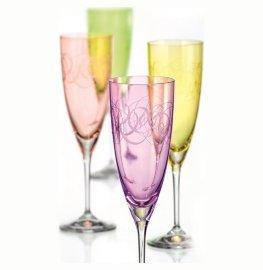 "бокалы для шампанского 220 мл 4 шт ""кейт /разноцветная фантазия"" / 111321"