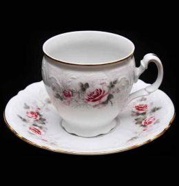 """набор чайных пар 240 мл 6 шт высокие н/н """"бернадотт /серая роза /золото"""" / 006329"""