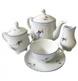 """чайный сервиз на 6 персон 15 предметов """"рококо /гуси"""" (220 мл) / 109919"""