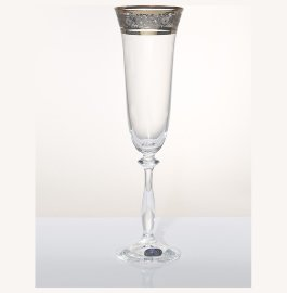 """бокалы для шампанского 190 мл 6 шт """"анжела /цветочный узор на платине"""" / 005193"""