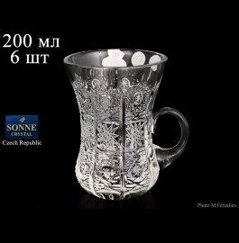 """армуды для чая 200 мл 6 шт с ручкой """"s.crystal /хрусталь резной"""" / 064147"""
