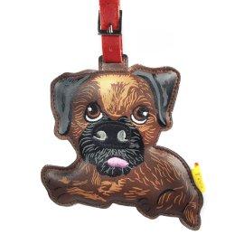"кожаный брелок на сумку ""border terrier"" / 144000"