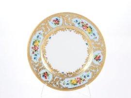 "набор тарелок 17 см 6 шт ""вена /розочки на голубом /с золотом"" / 147820"