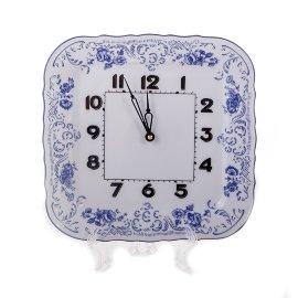"""часы настенные 26 см квадратные """"бернадотт /синие розы"""" / 125456"""