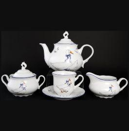 """чайный сервиз на 6 персон 15 предметов """"констанция /гуси"""" / 012406"""