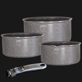 """набор посуды 4 предмета (кастрюли 16, 18, 20 см) со съёмной ручкой """"stamping series"""" серый / 135591"""
