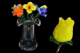 цветок стеклянный 50 см /тюльпан жёлтый / 061259