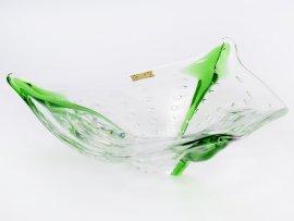 """пепельница 24 см """"прозрачная+зелёная с пузырьками"""" / 146141"""