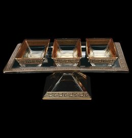 "набор салатников 4 предмета (поднос н/н + 3 салатника) ""astra gold /блэк"" / 107170"