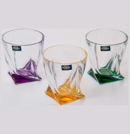 "стаканы для виски 340 мл 6 шт ""квадро /разноцветное дно"" яркие / 062189"