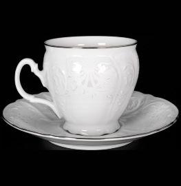 """набор чайных пар 240 мл 6 шт высокие н/н """"бернадотт /платиновый узор"""" / 006102"""