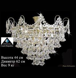 """люстра 9 рожковая хрусталь /золото """"титания люкс"""" h-44 см, диаметр-62 см, вес 9 кг / 009629"""