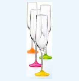 """бокалы для шампанского 190 мл 6 шт """"виола /морозный неон /ассорти"""" / 111284"""