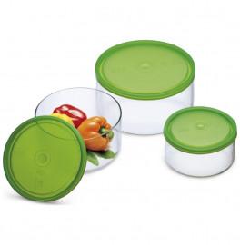"""набор контейнеров для хранения 3 предмета (0,4 л + 0,8 л  +1,5 л) с пластиковыми крышками """"simax"""" / 135926"""