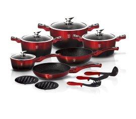 """набор посуды 15 предметов """"black-burgundy metallic line"""" / 134346"""