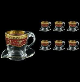 """набор чайных пар 12 предметов (6 чашек + 6 блюдец) """"astra gold /красная"""" / 107164"""