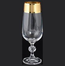 """бокалы для шампанского 180 мл 6 шт """"клаудия /матовая полоса /золото"""" / 108630"""