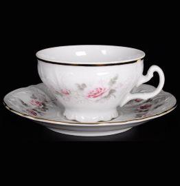 """набор чайных пар 220 мл 6 шт низкие н/н """"бернадотт /серая роза /золото"""" / 006327"""