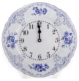 """часы настенные 27 см круглые """"бернадотт /синие розы"""" / 088070"""