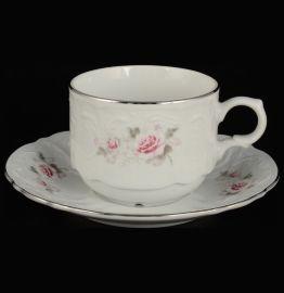"""набор чайных пар 250 мл 6 шт гост. """"бернадотт /серая роза /платина"""" / 098793"""