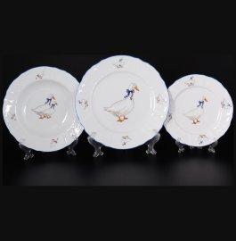 """набор тарелок 18 предметов (19, 23, 25 см) """"бернадотт /гуси"""" е-м / 088766"""
