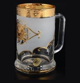 """кружка для пива 500 мл матово-белая """"богемия /антик золото"""" u-r / 098329"""