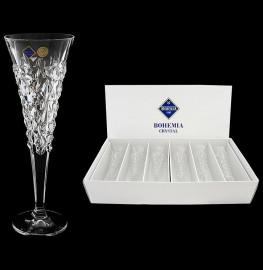 """бокалы для шампанского 200 мл 6 шт """"glacier /без декора"""" хрусталь йиглава / 046836"""