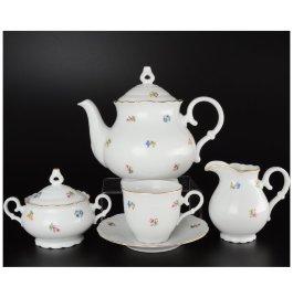 """чайный сервиз на 6 персон 15 предметов высокая чашка """"офелия /мелкие цветы"""" / 027400"""