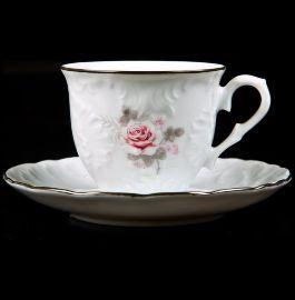 """кофейная пара 100 мл 1 шт """"рококо /серая роза /платина"""" (блюдце 12,5 см) / 109860"""