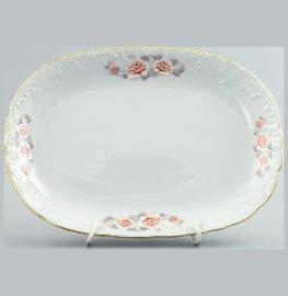 """блюдо 33 см овальное """"рококо /серая роза /золото"""" / 111473"""