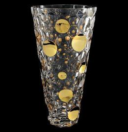 """ваза для цветов 31 см """"lisboa /золотые шары"""" хрусталь йиглава / 094834"""