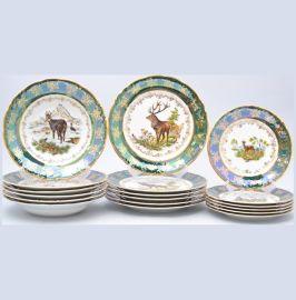 """набор тарелок 18 предметов (19, 23, 25 см) """"фредерика /охота зелёная"""" / 034073"""
