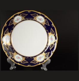 """набор тарелок 25 см 6 шт """"анжелика /цветы /кобальт"""" / 033811"""