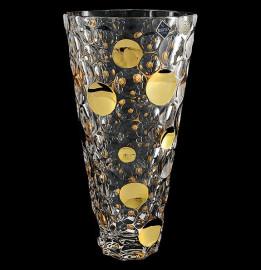 """ваза для цветов 31 см """"lisboa / с золотом"""" хрусталь йиглава / 109083"""