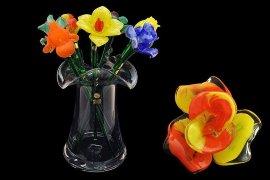 цветок стеклянный 50 см /роза оранжево-красная / 030020